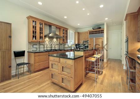 kitchen in suburban home with oak wood cabinetry stock photo 49407055 shutterstock