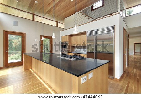Kitchen in ultra modern home with black granite island
