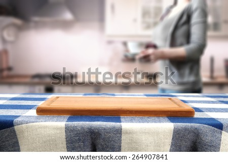 kitchen interior and woman with coffee cup in vintage kitchen