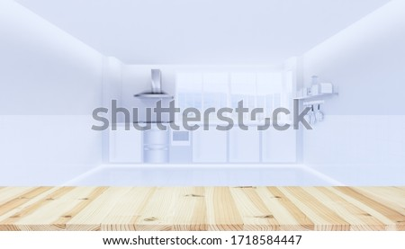 kitchen interior background with wood counter or table. Decoration top surface by wooden texture. And blur of window, gas stove and cooker hood with empty or copy space for mockup or product display.