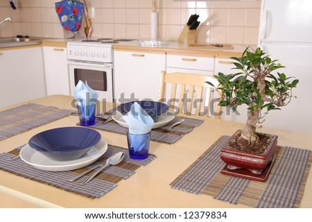 Kitchen interior detail with asian decorations and bonsai on the table