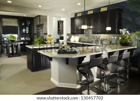Kitchen Interior Home  Architecture Stock Images, Photos of Living room, Dining Room, Bathroom, Kitchen, Bed room, Office, Interior photography. - stock photo