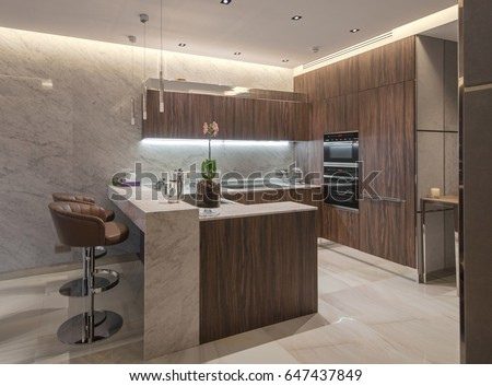 Kitchen interior in a modern style, stock photo