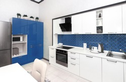 Kitchen interior in light blue colors. Scandinavian style, color of the year 2020 classic blue pantone