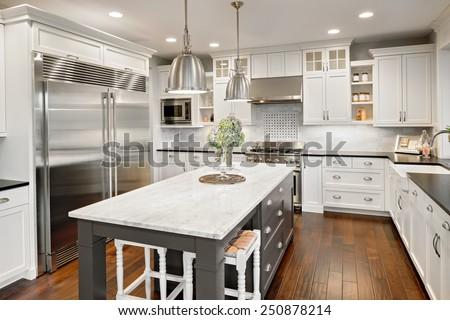 Kitchen interior in new luxury home stock photo 250878214