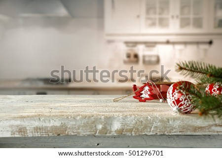 Kitchen interior of white furniture and christmas time decoration