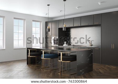 Kitchen interior with a wooden floor, black marble countertops and black cupboards with built in appliances. A black marble bar stand with stools in the foreground. Side view. 3d rendering mock up