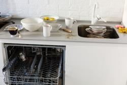 Kitchen mess white loft crane
