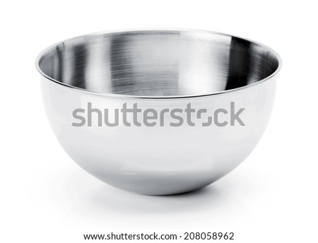 Kitchen mixing stainless steel Bowl isolated on white Background