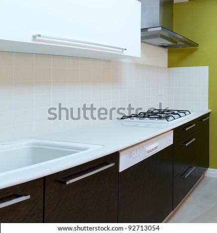 Kitchen modern design with integrated appliances
