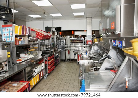 Kitchen of a fast food restaurant