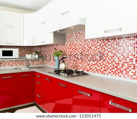 Kitchen red and white colors