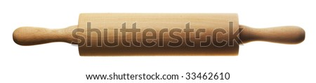 kitchen rolling pin isolated over white background