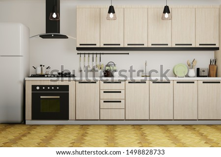 Kitchen room with wooden counter and cabinet, hood and oven, white concrete wall and wooden parquet floor - 3d rendering interior.