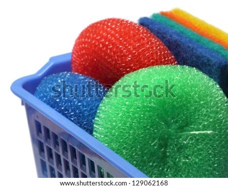 Kitchen Scrubber on a basket - stock photo