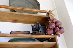 kitchen shelf and onion and camera have become a nostalgia
