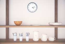 Kitchen shelves with cutlery and dinnerware on concrete wall and a clock above. 3D Render