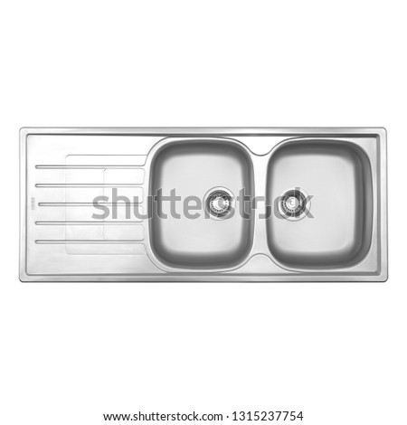 Kitchen Sink Top View Isolated on White. Double Bowl Sinker. Integrated Stainless Steel Sink Countertop Kitchen Inset Washbowl. Built-In Home Household and Domestic Appliances #1315237754