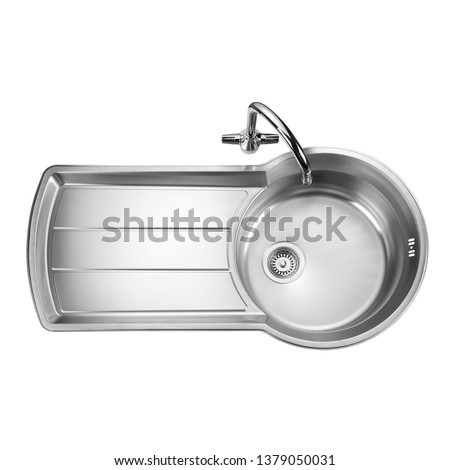 Kitchen Sink Top View with Faucet Isolated on White Background. Stainless Steel Single Bowl Sinker. Inset Washbowl. Built-In Kitchen and Domestic Appliances #1379050031