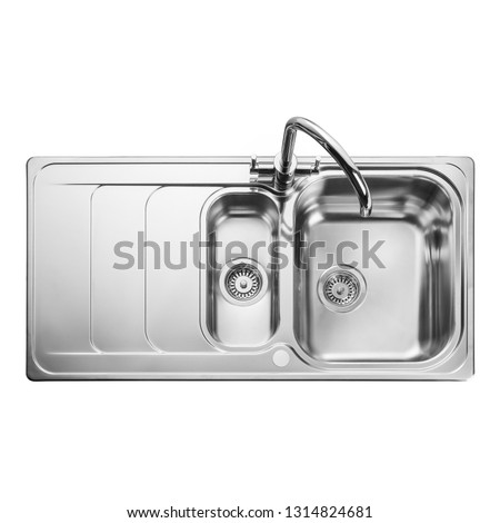 Kitchen Sink Top View with Faucet Isolated on White. Double Bowl Sinker with Tap. Integrated Stainless Steel Sink Countertop Kitchen Inset Washbowl. Built-In Home Household and Domestic Appliances #1314824681