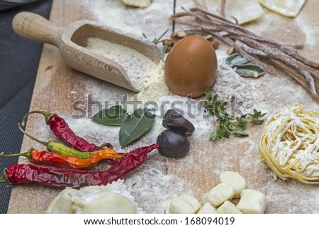 Kitchen Still Life - different ingredients for preparing a pasta