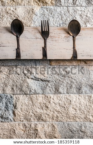Kitchen stone wall with fork and spoons hanger/Kitchen hanger - vintage/Kitchen tools hanger on stone wall