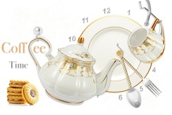 kitchen teapot cup set on white background for wall tiles
