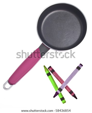 Kitchen Tool with Vibrant Crayons for Creative Cooking Concepts.  Isolated on White with a Clipping Path.