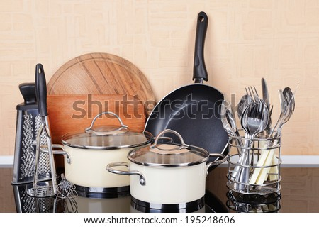 Kitchen tools on table in kitchen stock photo