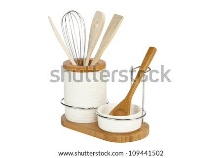 Kitchen Tools, wooden cutlery in ceramic pot