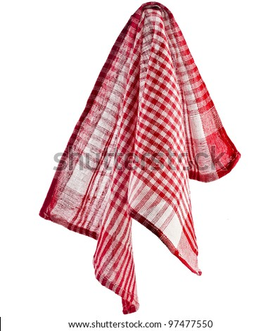 Kitchen towel hanging isolated on white background