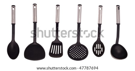 kitchen utensil collection isolated on white background - stock photo