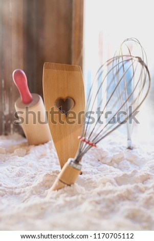 Kitchen utensils for pastries on white background, various kitchen utensils - kitchen spatula, rolling pin, tools to make a cake, #1170705112