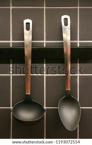 Kitchen utensils in a kitchen #1193072554