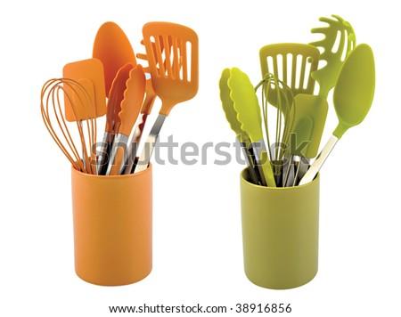 Kitchen utensils on white background - stock photo