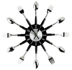 Kitchen wall clock made of silverware