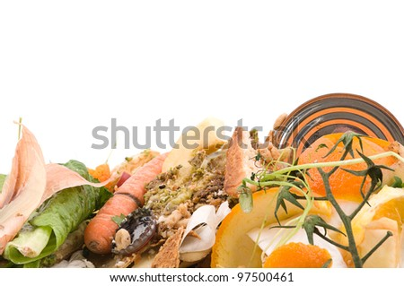 Kitchen waste with room for your text isolated on white background