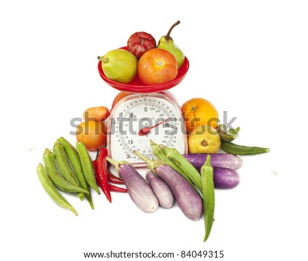 kitchen weight scale with diversity fruit and vegetables