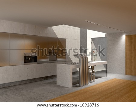Kitchen with a window in a ceiling