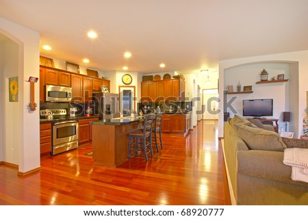 Kitchen with dark golden cherry cabinets and matching for Floors to match cherry cabinets