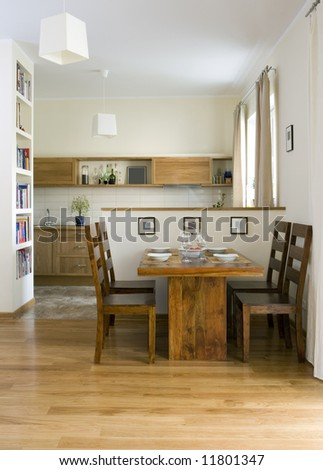 kitchen with dinning room