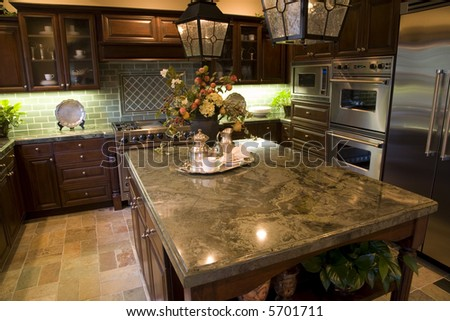 Kitchen With Granite Top Island. Stock Photo 5701711 : Shutterstock