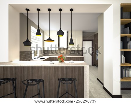 kitchen with lamps 3d rendering #258298739