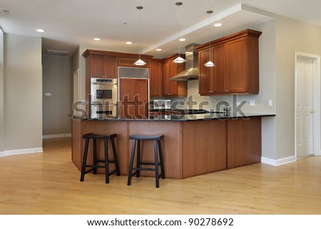 Kitchen with wraparound counter and stools