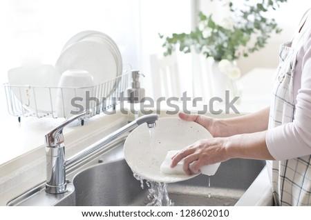 Kitchen, woman, Dishwasher