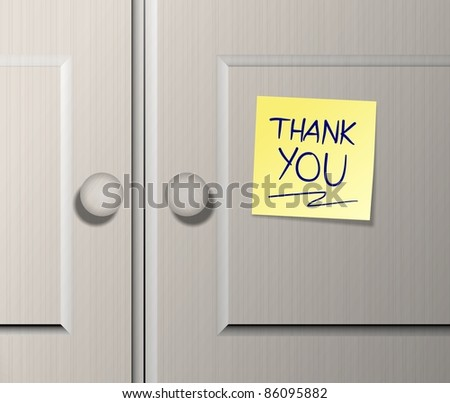 Kitchen wooden cabinet doors with a text spelled thank you written on a post it note / Thank you - stock photo