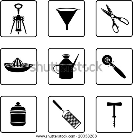 kitchenware objects silhouettes (also available in vector format)