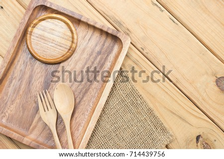 Kitchenware set of wooden on tableware. #714439756