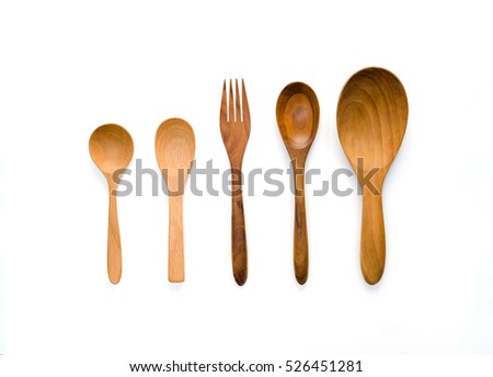 Kitchenware set of wooden spoon and fork on white background.  #526451281