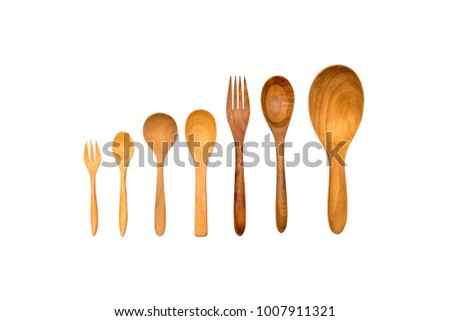Kitchenware set of wooden spoon and wooden fork isolated on white background with clipping path.  #1007911321